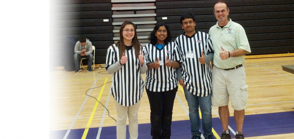 Referees at FLL ChampsSeniors Leah Dickstein, Apoorva Dornadula, Ace Bansal and Head Mentor Mark Edelman! 02/03/2013